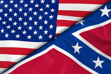 Flags of the United States of America and the Confederacy Divided