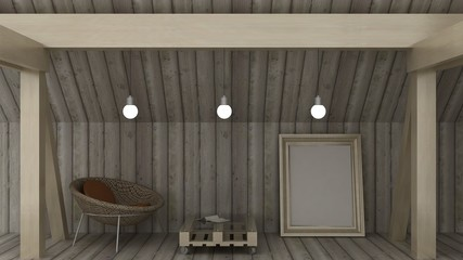 Empty picture frame in chest on the loft with wooden wall and wooden floor. Classic wooden roof construction with columns and beams. Copy space image. 3d render