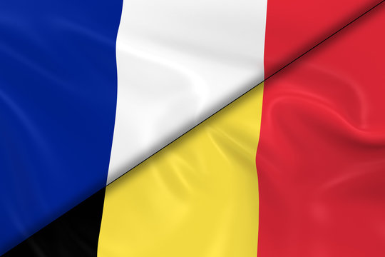 Flags of France and Belgium Divided Diagonally - 3D Render of th