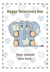 Greeting card of happy Valentine's Day. For girls. You can use it in your own design.