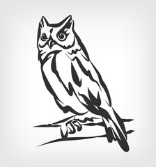 Owl vector black icon logo illustration