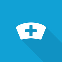 Flat Nurse icon with long shadow on blue backround