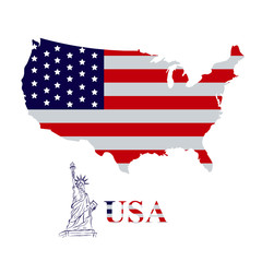 map of USA with statue of Liberty, vector illustration