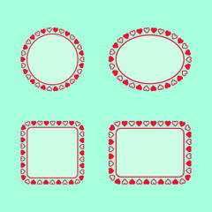Set of geometric frames with hearts
