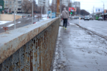 metal barriers of the bridge and the people passing by