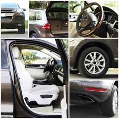 Modern car details in collage