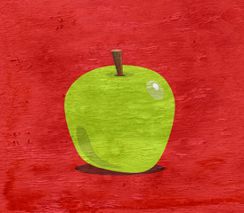 apple illustration on wood grain texture