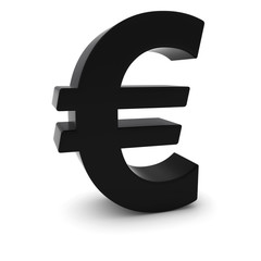Black 3D Euro Symbol Isolated on White Background with Shadows
