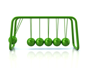 Illustration of green newton's cradle