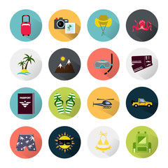 Set of sixteen color travel icons
