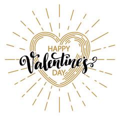 Retro Valentine day card vith line heart icon. Vector illustration