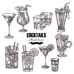 Set of alcoholic cocktails. Hand drawn drinks in sketch style. V