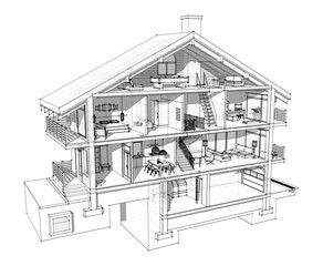 3d section of a country house