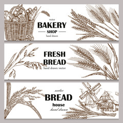 Hand drawn bread horizontal banners. Banner set. Vector