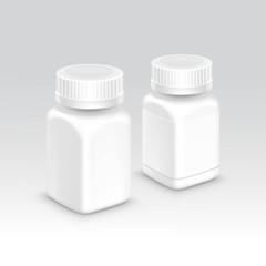 Blank Plastic Packaging Bottle with Cap for Pills Vector Isolated on Background