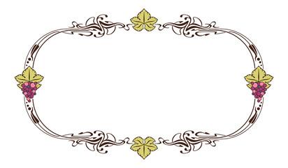 Elegant frame with grapes
