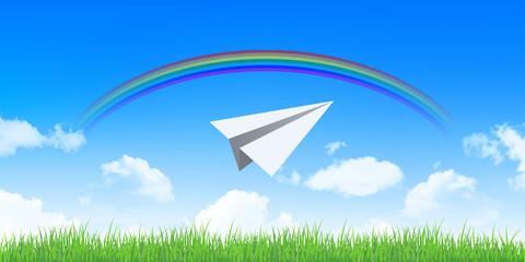 紙飛行機 空 背景