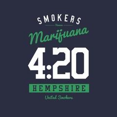 College Varsity Marijuana Weed Print Design Vector