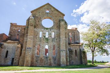 Italian Abondoned Gothic Church San Galgano, Tuscany