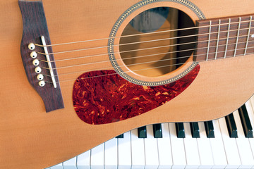 Acoustic Guitar with Piano Keys