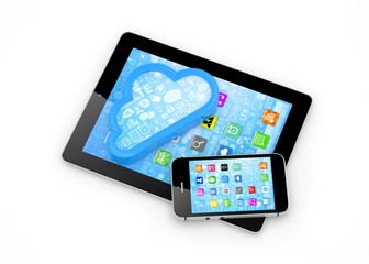 tablet pc, smart phone and cloud