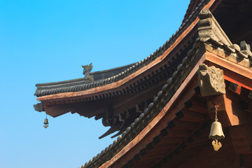 Chinese design on roof details of temple
