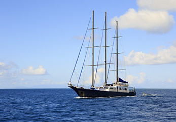 Large sailing yacht in the Indian Ocean.