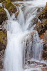 closeup of flowing waterfall with smooth effect from long exposure