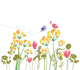 Floral background with hand drawn flowers, bird and space for spring