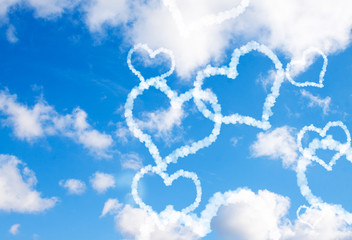Cloud hearts in the sky