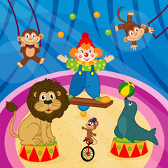 arena in circus with animals and clown - vector illustration, eps