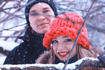 smile couple of young lovers winter