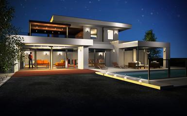 Maison d'architecte la nuit