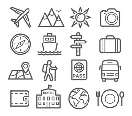 Travel and Tourism Line Icons