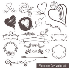 A collection of hand-drawn sketches for Valentine's Day. Beautiful heart.