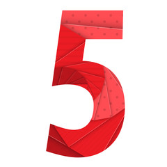 RED ORIGAMI NUMBER ICON 5 (five)
