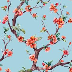 Obraz Watercolor vector sakura pattern - fototapety do salonu