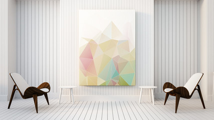 Modern & Loft The Painting in Living room / 3D render image