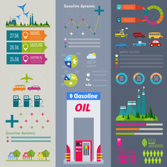 flat infographic gasoline station and plant