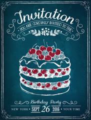 Invitation card to the event or birthday. Retro illustration