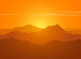 Mountain range over sunset.