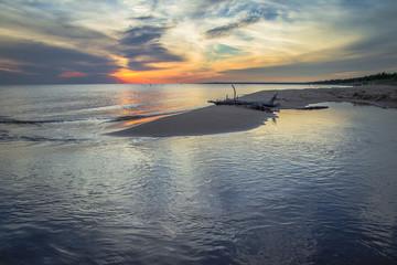 Lake Michigan Sunset. Sunset over the Lake Michigan horizon in the Upper Peninsula.