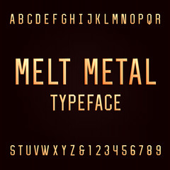 Melt metal alphabet vector font. 3D effect type letters and numbers. Vector typeset for headlines, posters etc.