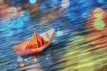 Boat Euro Money Origami