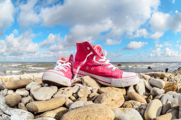Pink textile sneakers