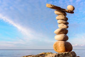 Stones on sky background