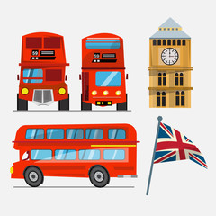 London red double decker bus. big ben and Great Britain waving f