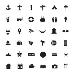 Vector black icons of tourism and travel.