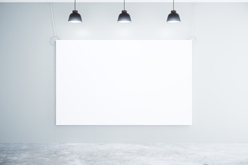 Blank white poster on the wall with lamps, mock up