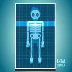 x-ray scanning on human body. skeleton - vector